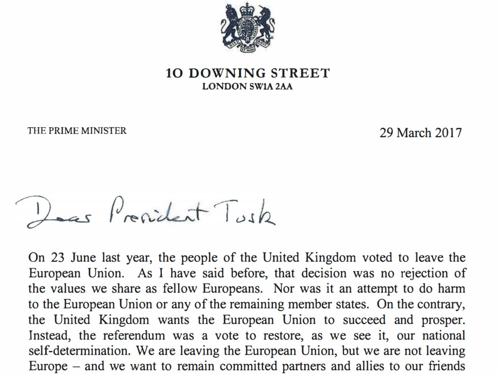 Here's Theresa May's Full Letter To The European Union