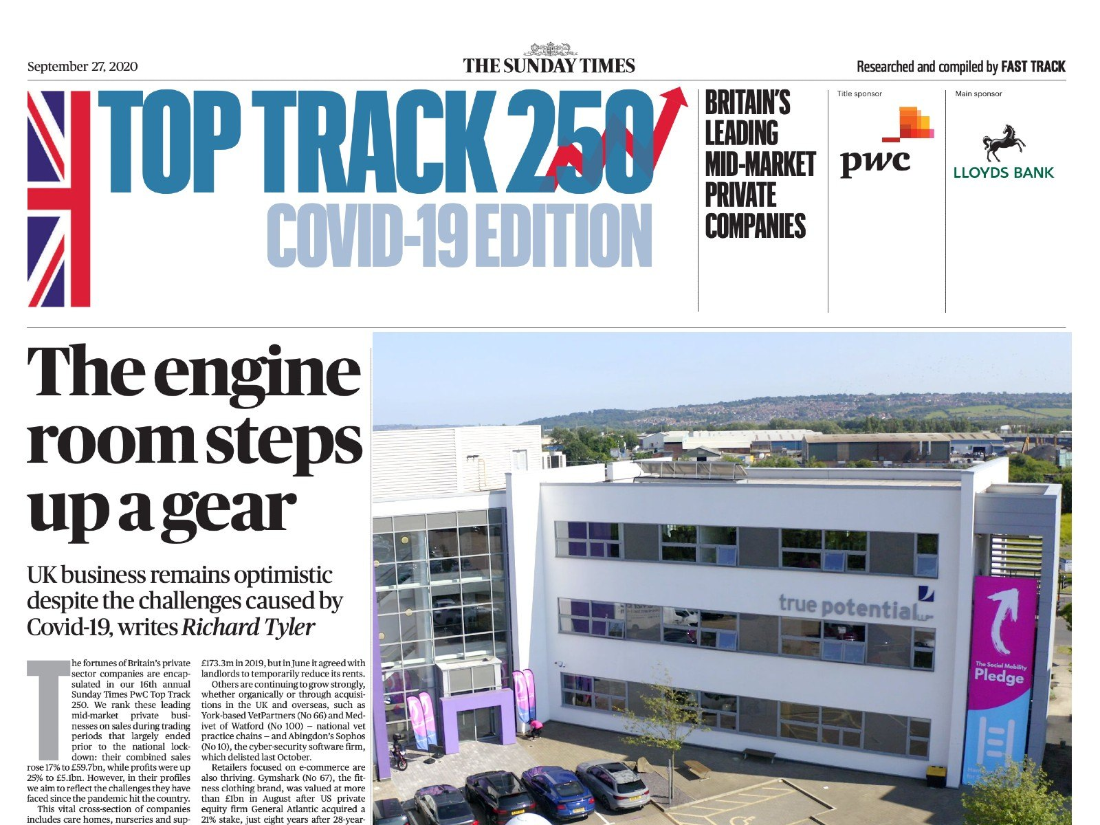 True Potential Named UK Top 250 Company