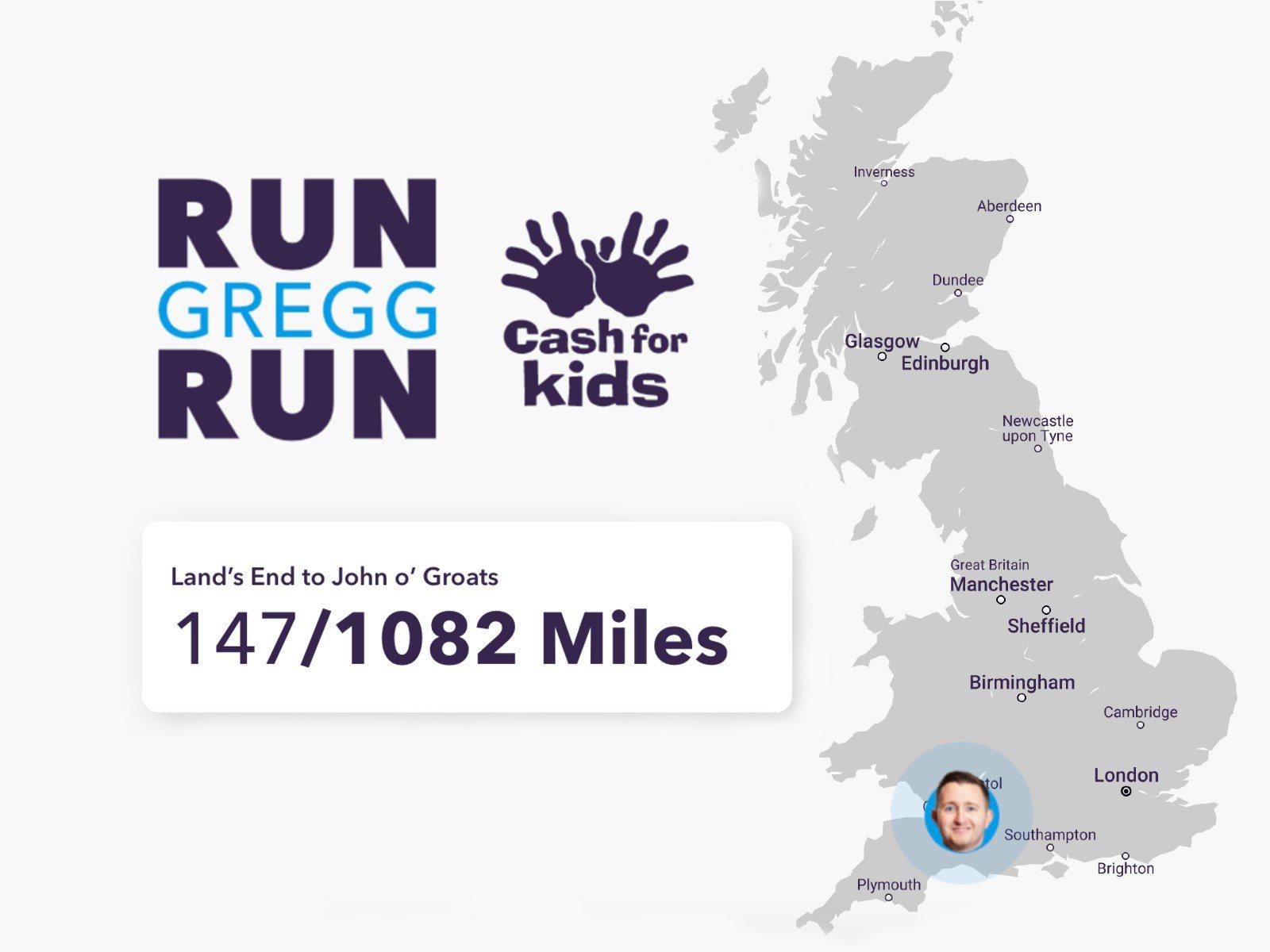 Run Gregg Run! Running the Length of the UK To Fundraise for Cash for Kids